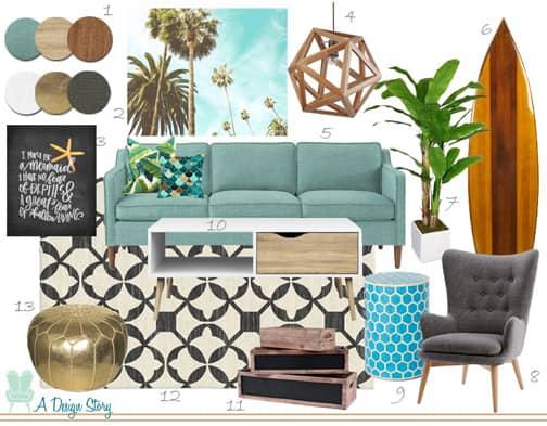 Tropical Surf Living Room & Online Interior Design - A Design Story