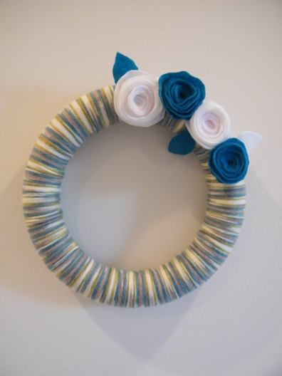 image yarn and felt flower wreath