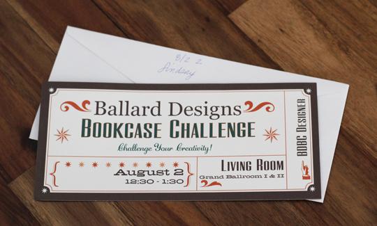 Ballard Designs Bookcase Challenge Invitation
