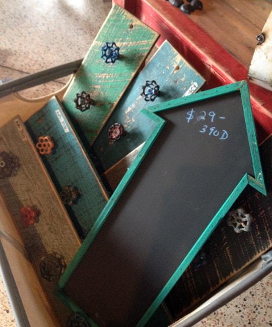 hook boards and chalkboard arrow